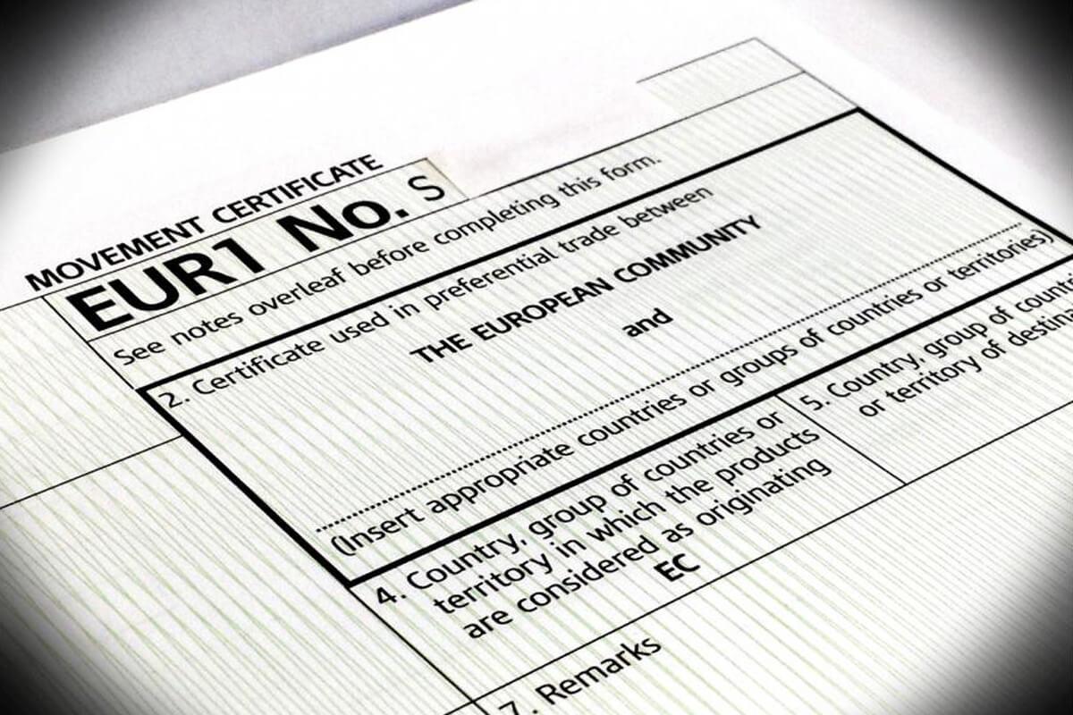 Certificati di circolazione EUR 1, EUR MED, ATR.